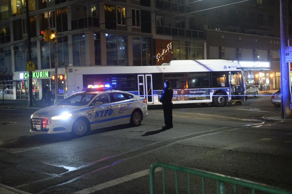 A woman was crossing E. 17 St. in Sheepshead Bay on Monday night when she was hit by a B36 bus.  KEN MURRAY/NEW YORK DAILY NEWS